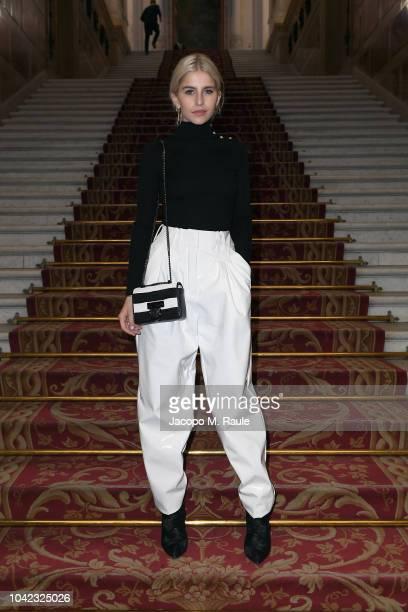 Caroline Daur attends the Balmain show as part of the Paris Fashion Week Womenswear Spring/Summer 2019 on September 28, 2018 in Paris, France.