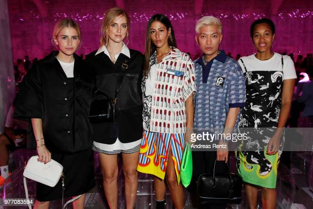 Caroline Daur Chiara Ferragni Gilda Ambrosio Bryan Boy and Tamu Mcpherson attend Prada Men's Spring/Summer 2019 Fashion Show on June 17 2018 in Milan...
