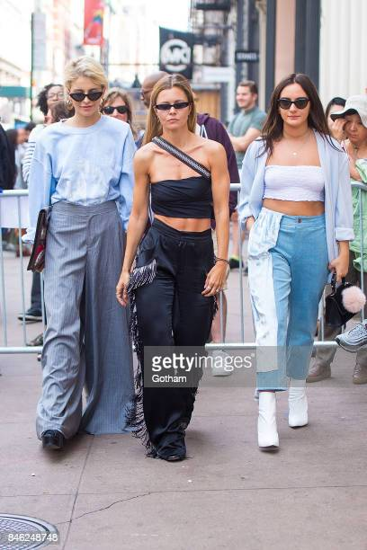 Caroline Daur Elizabeth Sulcer and Olivia Perez attend the Baja East fashion show during New York Fashion Week in SoHo on September 12 2017 in New...