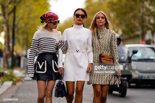 Caroline Daur Evangelie Smyrniotaki Charlotte Groeneveld outside Valentino during Paris Fashion Week Womenswear Spring/Summer 2019 on September 30...