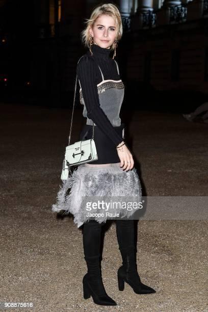 Caroline Daur is seen arriving at Giambattista Valli show during Paris Fashion Week Haute Couture Spring/Summer 2018 on January 22 2018 in Paris...