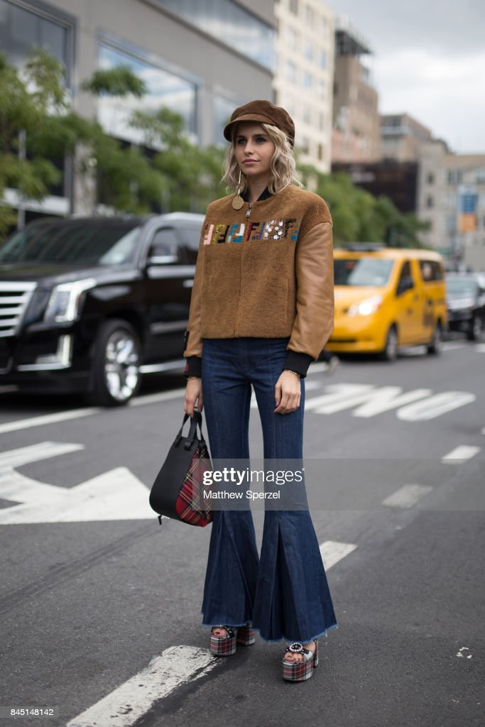 Caroline Daur is seen attending Jonathan Simkhai during New York Fashion Week wearing Fendi, Miu Miu, Prada on September 9, 2017 in New York City.