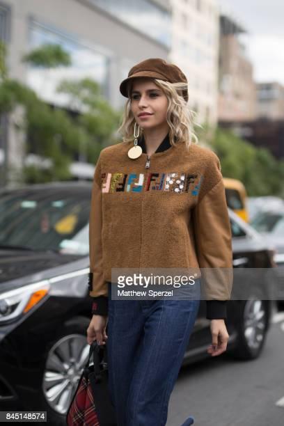 Caroline Daur is seen attending Jonathan Simkhai during New York Fashion Week wearing Fendi Miu Miu Prada on September 9 2017 in New York City