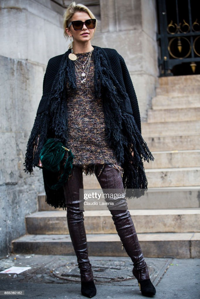 Caroline Daur is seen before the Balmain fashion show during Paris Fashion week Womenswear SS18 on September 28, 2017 in Paris, France.