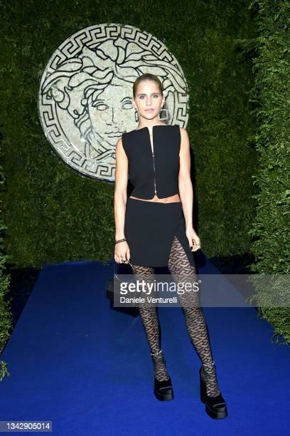 Caroline Daur is seen on the front row of the Versace special event during the Milan Fashion Week - Spring / Summer 2022 on September 26, 2021 in...