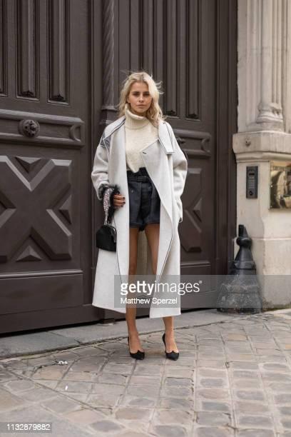 Caroline Daur is seen on the street attending Roger Vivier during Paris Fashion Week AW19 wearing Roger Vivier on February 28, 2019 in Paris, France.