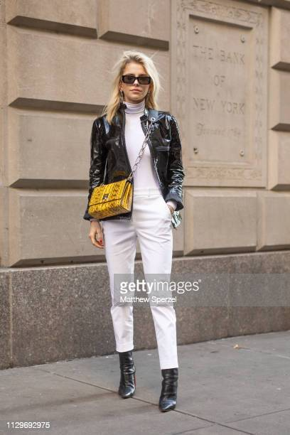 Caroline Daur is seen on the street during New York Fashion Week AW19 wearing Michael Kors on February 13, 2019 in New York City.