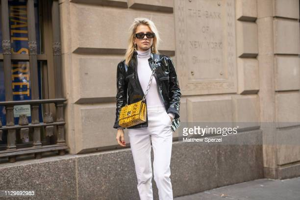 Caroline Daur is seen on the street during New York Fashion Week AW19 wearing Michael Kors on February 13 2019 in New York City