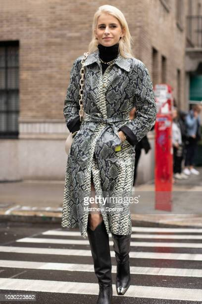Caroline Daur is seen on the street during New York Fashion Week SS19 wearing ESCADA on September 9 2018 in New York City