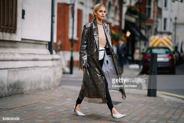 Caroline Daur is seen outside Preen by Thornton Bregazzi during London Fashion Week September 2017 on September 17 2017 in London England