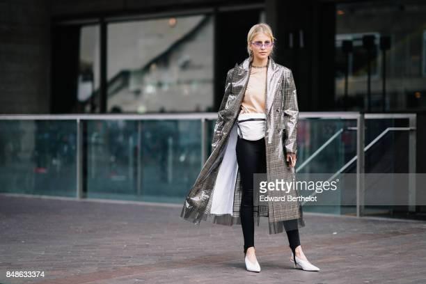 Caroline Daur is seen outside Roland Mouret during London Fashion Week September 2017 on September 17 2017 in London England