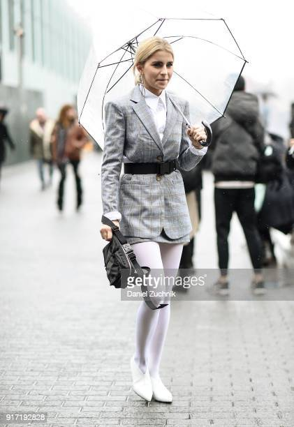 Caroline Daur is seen outside the Tibi show during New York Fashion Week Women's A/W 2018 on February 11 2018 in New York City