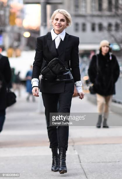 Caroline Daur is seen outside the Ulla Johnson show during New York Fashion Week Women's A/W 2018 on February 8 2018 in New York City