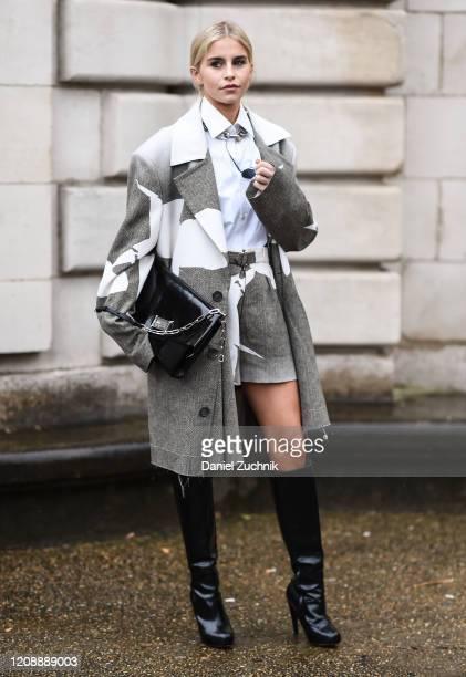 Caroline Daur is seen wearing a Margiela outfit outside the Maison Margiela show during Paris Fashion Week: AW20 on February 26, 2020 in Paris,...