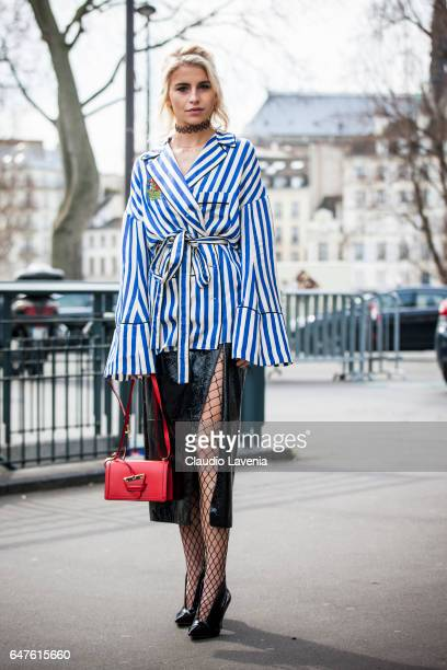 Caroline Daur is seen wearing a Off White shirt in the streets of Paris after the Issey Miyake show during Paris Fashion Week Womenswear Fall/Winter...