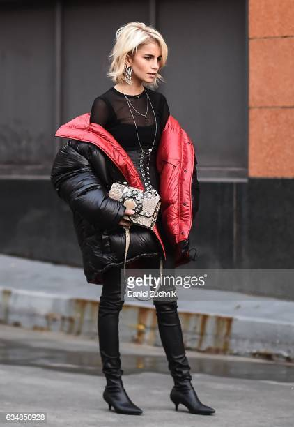 Caroline Daur is seen wearing a Vetements black and red puff jacket at the Dion Lee show during New York Fashion Week Women's Fall/Winter 2017 on...