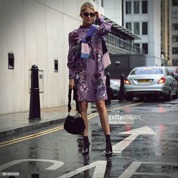 Caroline Daur on the street during the London Fashion Week