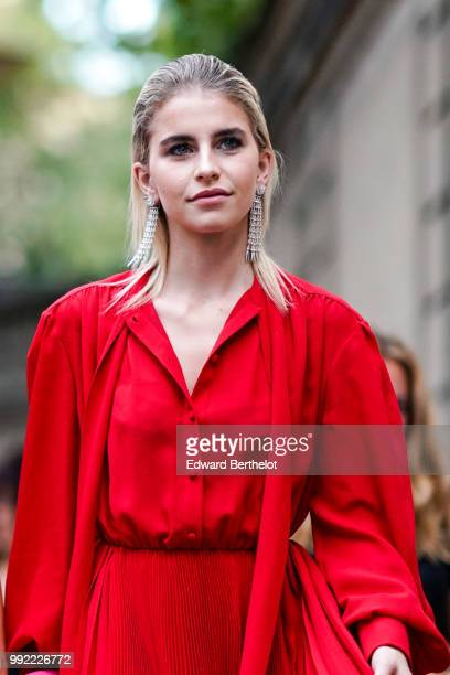 Caroline Daur outside Valentino during Paris Fashion Week Haute Couture Fall Winter 2018/2019 on July 4 2018 in Paris France
