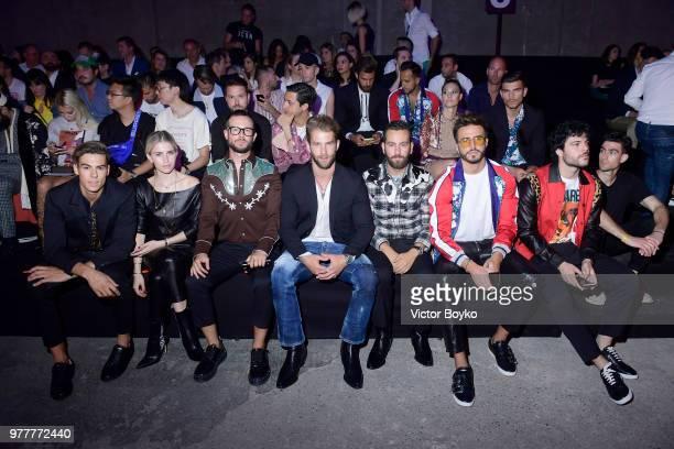 Caroline Daur Paolo Stella André Hamann Matthew Zorpas Marco Ferri and Guglielmo Scilla attend Dsquared2 show during Milan Men's Fashion...