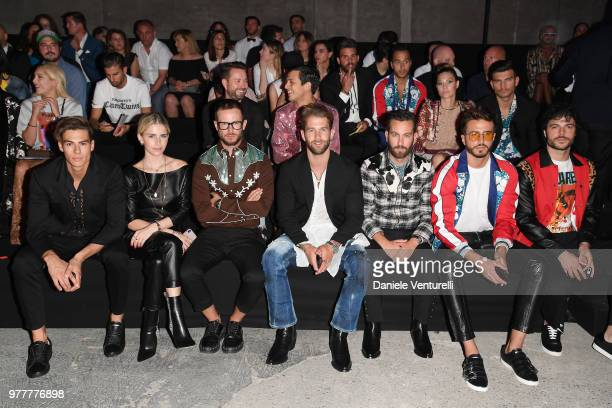 Caroline Daur Paolo Stella André Hamann Matthew Zorpas Marco Ferri and Guglielmo Scilla attend Dsquared2 show during Milan Men's Fashion...