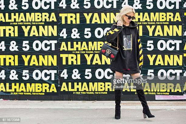 Caroline Daur poses after the Issey Miyake show on day 4 of Paris Womens Fashion Week Spring/Summer 2017Êon September 30 2016 in Paris France