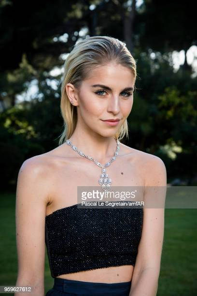 Caroline Daur poses for portraits at the amfAR Gala Cannes 2018 cocktail at Hotel du CapEdenRoc on May 17 2018 in Cap d'Antibes France