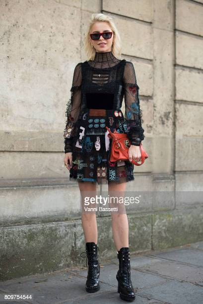 Caroline Daur poses wearing Valentino after the Valentino show at the Hotel salomon du Rotschild during Paris Fashion Week Haute Couture FW 17/18 on...