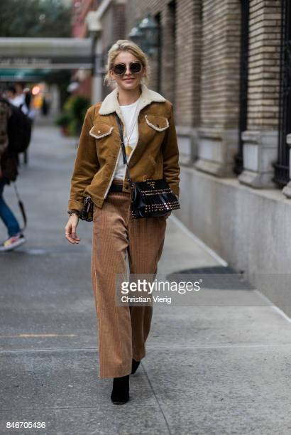Caroline Daur seen in the streets of Manhattan outside Marc Jacobs during New York Fashion Week on September 13 2017 in New York City