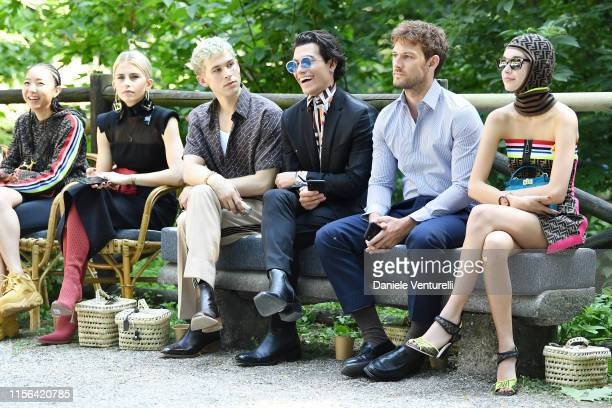 Caroline Daur Tommy Dorfman Rob Raco Alex Pettyfer and Sarah Snyder attend the Fendi fashion show during the Milan Men's Fashion Week Spring/Summer...