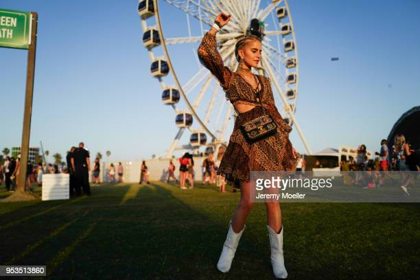 Caroline Daur wearing a complete Dior look during day 2 of the 2018 Coachella Valley Music Arts Festival Weekend 1 on April 14 2018 in Indio...