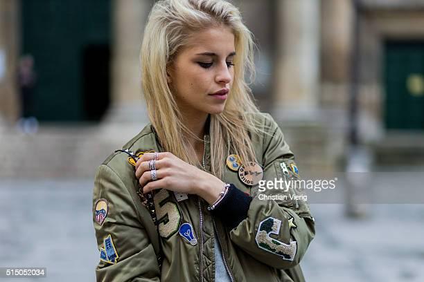 194e4dd0 Caroline Daur wearing an olive Zara bomber jacket during the Paris Fashion  Week Womenswear Fall/