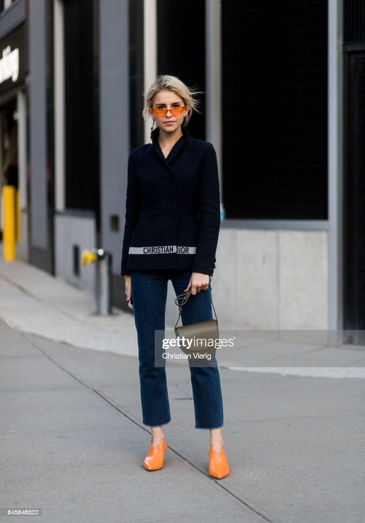 Caroline Daur wearing Dior seen in the streets of Manhattan outside Anna Sui during New York Fashion Week on September 11, 2017 in New York City.