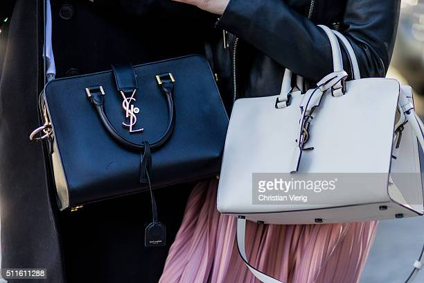 Caroline Daur wearing jacket Editedt pink skirt Asos white Yves Saint Laurent bag and model Stefanie Giesinger wearing jacket Zara bag Yves Saint...