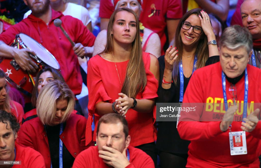 Caroline Daxhelet, girlfriend of Ruben Bemelmans of Belgium during the doubles match on day 2 of the Davis Cup World Group final between France and Belgium at Stade Pierre Mauroy on November 25, 2017 in Lille, France.