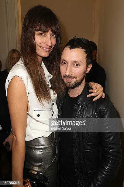Caroline de Maigret and Anthony Vaccarello attend the Anthony Vaccarello Fall/Winter 2013 ReadytoWear show as part of Paris Fashion Week on February...