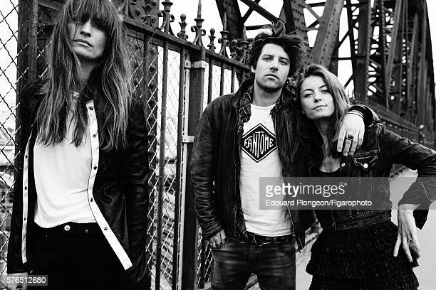 Caroline de Maigret and band Klink Clock are photographed for Madame Figaro on May 9 2016 in Paris France Caroline de Maigret Shirt tshirt jeans...