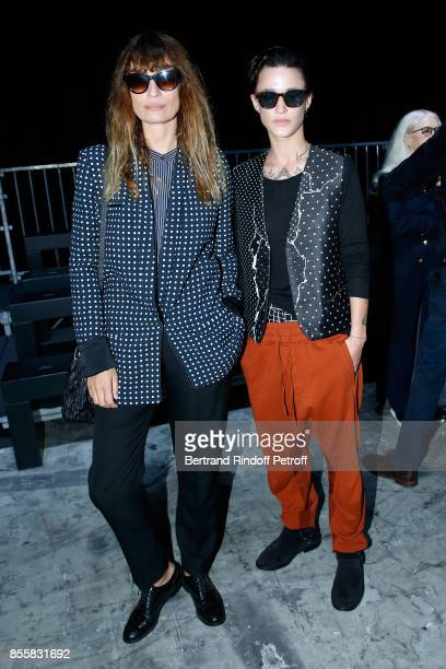Caroline de Maigret and DJ Agathe Mougin attend the Haider Ackermann show as part of the Paris Fashion Week Womenswear Spring/Summer 2018 on...