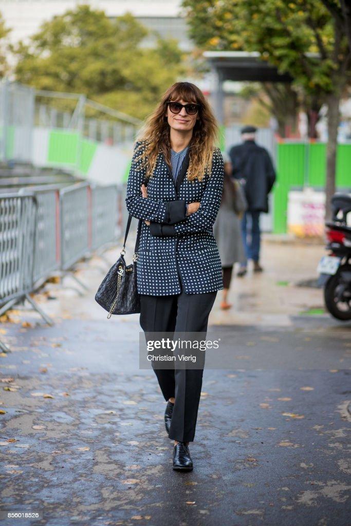 Caroline de Maigret is seen outside Haider Ackermann during Paris Fashion Week Spring/Summer 2018 on September 30, 2017 in Paris, France.