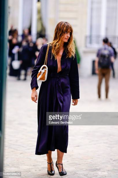 Caroline de Maigret is seen outside Jacquemus during Paris Fashion Week Womenswear Spring/Summer 2019 on September 24 2018 in Paris France
