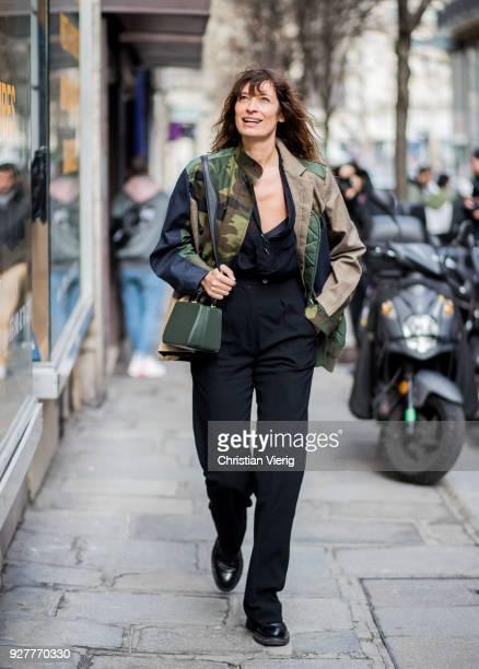 Caroline de Maigret is seen outside Sacai during Paris Fashion Week Womenswear Fall/Winter 2018/2019 on March 5, 2018 in Paris, France.
