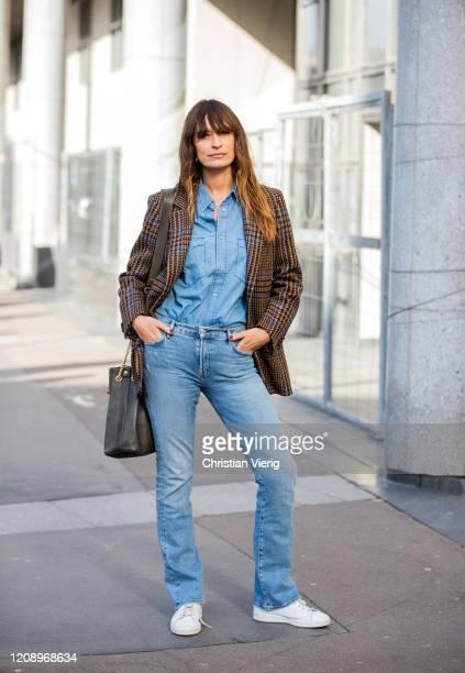 Caroline de Maigret is seen wearing denim jeans, brown blazer outside Dries van Noten during Paris Fashion Week - Womenswear Fall/Winter 2020/2021 :...