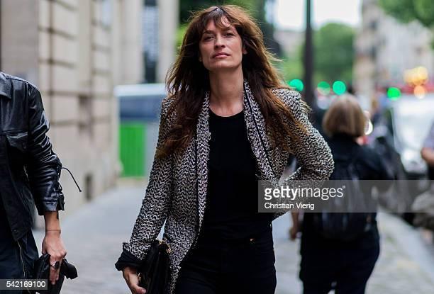 Caroline de Maigret outside Haider Ackermann during the Paris Fashion Week Menswear Spring/Summer 2017 on June 22 2016 in Paris France