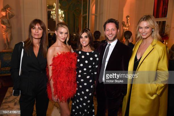 Caroline de Maigret Rosie HuningtonWhiteley Carine Roitfeld Derek Blasberg and Karlie Kloss attend the YouTube cocktail party during Paris Fashion...
