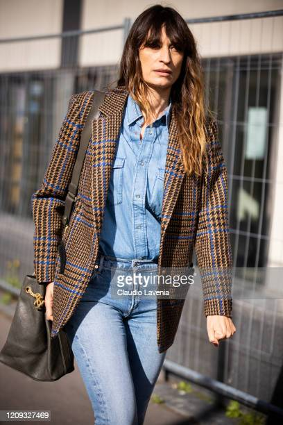 Caroline de Maigret wearing a denim shirt jeans Chanel bag and checked blazer is seen outside Dries Van Noten during Paris Fashion Week Womenswear...