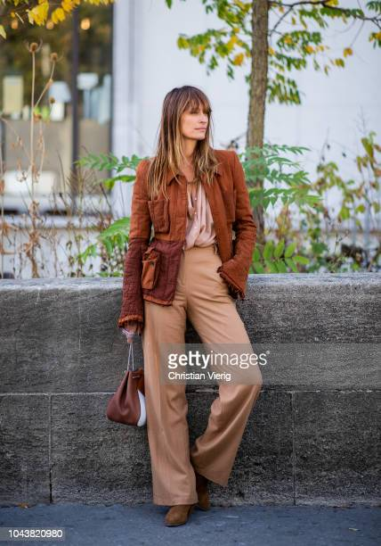 Caroline de Maigret wearing brown pants blazer is seen outside Haider Ackermann during Paris Fashion Week Womenswear Spring/Summer 2019 on September...