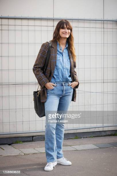 Caroline de Maigret wearing plaid blazer, denim shirt and jeans outside the Dries van Noten show during the Paris Fashion Week Womenswear Fall/Winter...