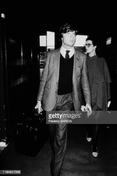 Caroline de Monaco et Robertino Rossellini à Paris le 12 janvier 1983, France.