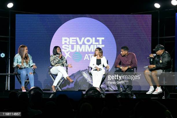 Caroline Diaz Ericka J Coulter Zoe Young Ryan Press and Lenny Santiago speak onstage during REVOLT Summit x ATT Summit on September 13 2019 in...