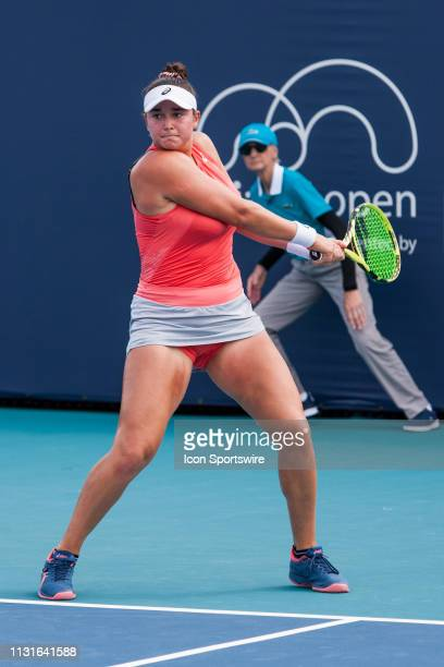 Caroline Dolehide in action during the Miami Open on March 18 2019 at Hard Rock Stadium in Miami Gardens FL