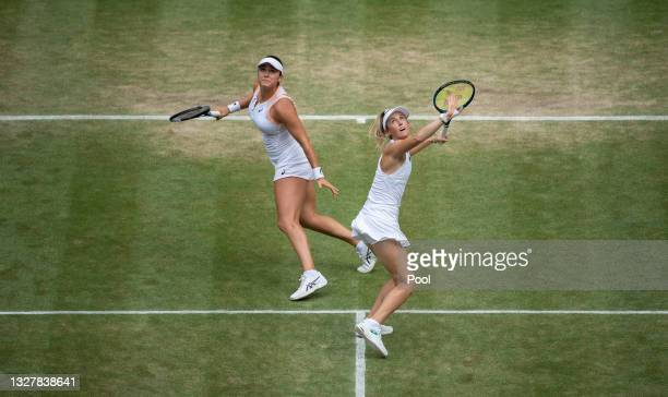 Caroline Dolehide of The United States and Storm Sanders of Australia in action in their Ladies' Doubles Semi-Final match against Veronika...